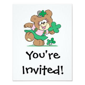 cute irish st paddy girl teddy bear design 11 cm x 14 cm invitation card
