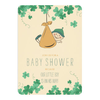 Cute Irish Themed Shamrock Baby Shower Card