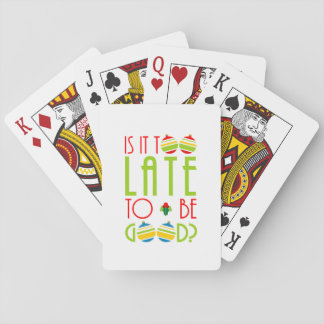 "Cute ""Is It Too Late to Be Good?"" Christmas Santa Playing Cards"