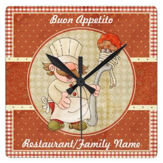 Cute Italian Chef Clock