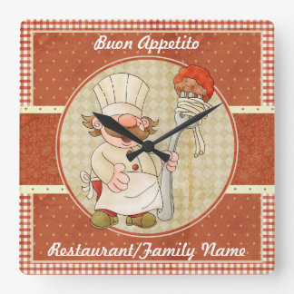 Cute Italian Chef Square Wall Clock