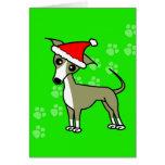 Cute Italian Greyhound Cartoon Santa Hat