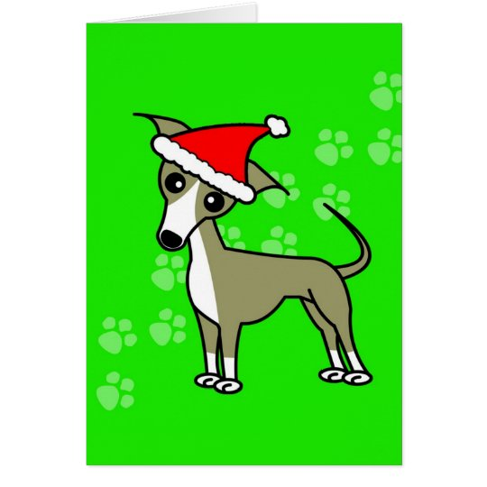 Cute Italian Greyhound Cartoon Santa Hat Card