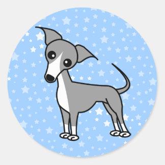 Cute Italian Greyhound - Grey Classic Round Sticker
