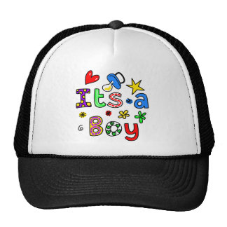 Cute Its A Baby Boy Greeting Text Expression Mesh Hats