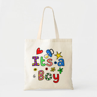 Cute Its A Baby Boy Greeting Text Expression Budget Tote Bag