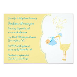 "Cute it's a boy blue stork baby shower invitation 5"" x 7"" invitation card"