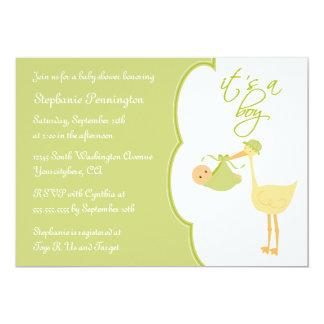 "Cute it's a boy green stork baby shower invitation 5"" x 7"" invitation card"
