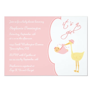 Cute it's a girl pink stork baby shower invitation