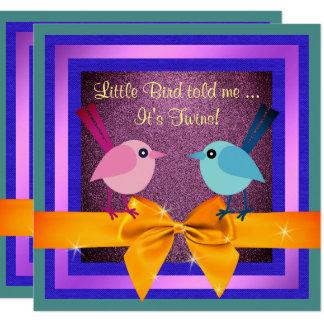 Cute It's Twins Little Birds Baby Shower Invite