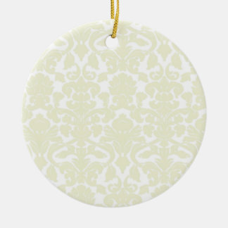 Cute Ivory Damask Pattern Christmas Ornament