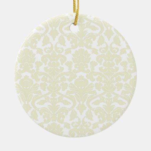 Cute Ivory Damask Pattern Christmas Ornament