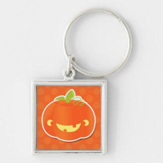 Cute Jack-O-Lantern on Orange.jpg Silver-Colored Square Key Ring