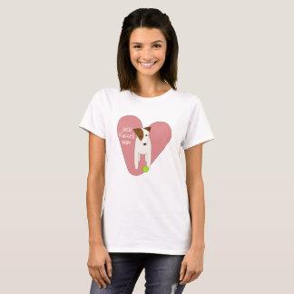 cute Jack Russell dog mum pink heart tennis ball T-Shirt