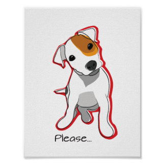 Cute Jack Russell Puppy Poster with Red Accent