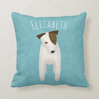 cute jack russell terrier with head tilt throw pillow