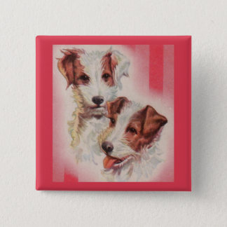 CUTE Jack Russell terriers illustration 15 Cm Square Badge