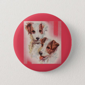 CUTE Jack Russell terriers illustration 6 Cm Round Badge