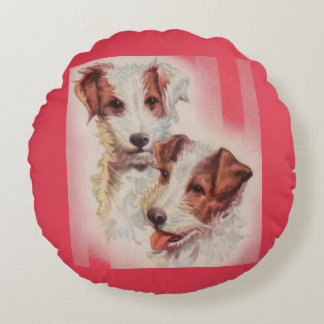 CUTE Jack Russell terriers illustration Round Cushion
