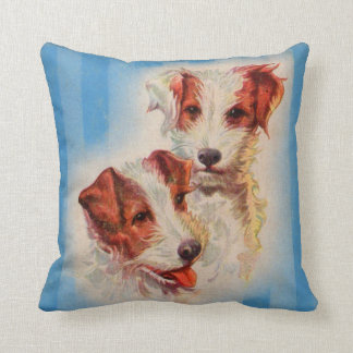 CUTE Jack Russell terriers illustration Throw Pillow