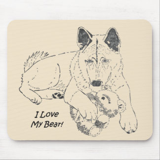 Cute Japanese akita with teddy bear drawing art Mouse Pad