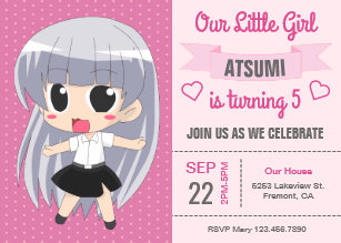 Japanese birthday invitations zazzle cute japanese anime girl birthday party invitation stopboris Images