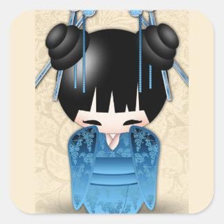 Cute Japanese Kokeshi Doll Square Sticker