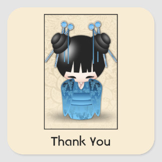 Cute Japanese Kokeshi Doll Thank You Square Sticker