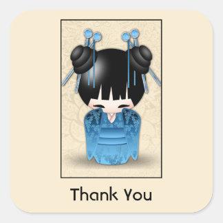 Cute Japanese Kokeshi Doll Thank You Square Sticker