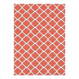 Cute Jelly Bean Orange Quatrefoil Maroccan Pattern 13 Cm X 18 Cm Invitation Card