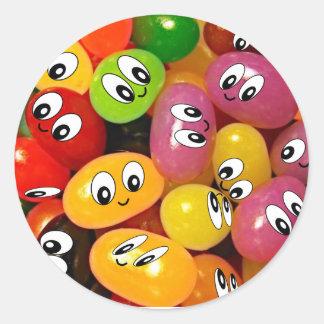 Cute Jelly Bean Smileys Round Sticker