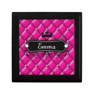 Cute jewelry box pink custom name crown princess