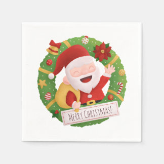 Cute Jolly Santa Claus Xmas Wreath Party Napkins Disposable Napkin