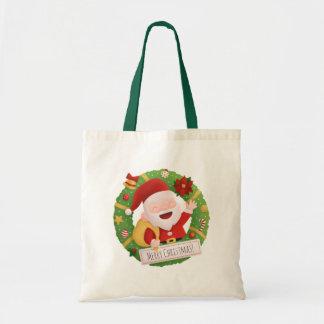 Cute Jolly Santa Claus Xmas Wreath Tote Bag