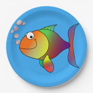 Cute Joyful Goldfish in Sea, Light Blue Paper Plate