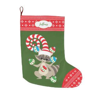 Cute Juggling Raccoon Large Christmas Stocking