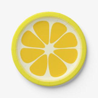 Cute Juicy Citrus Lemon Tropical Fruit Slice Paper Plate