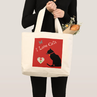 Cute Jumbo  Cat Red And White  Graphic Tote