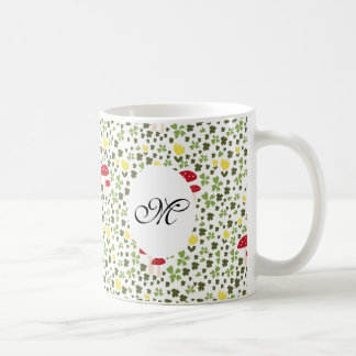 Cute jump more flower pattern monogram mug