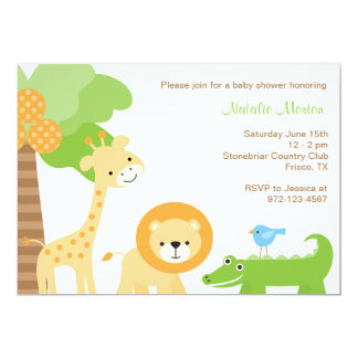 Cute Jungle Animal Invitations