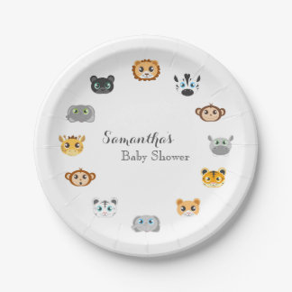Cute Jungle Animal Theme Baby Shower Paper Plate