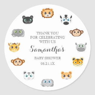 Cute Jungle Animal Theme Baby Shower Thank You Round Sticker