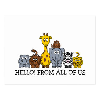CUTE JUNGLE ANIMALS ADD YOUR TEXT POSTCARD