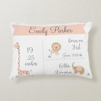Cute Jungle Animals Baby Girl Announcement Pillow