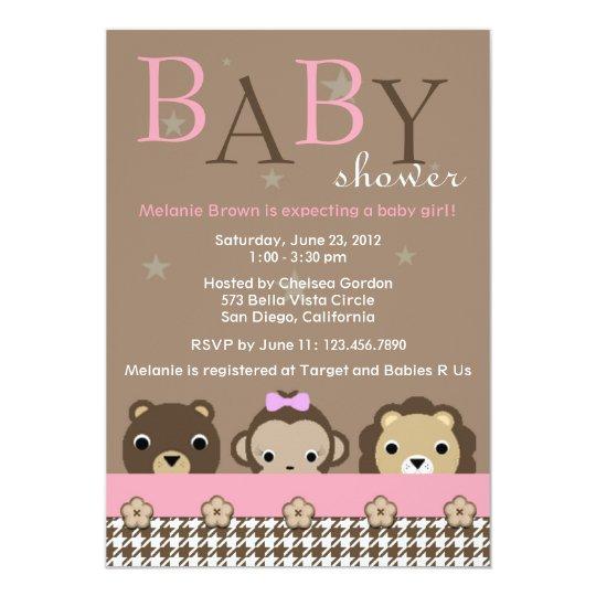 Cute Jungle Animals Baby Shower Invite