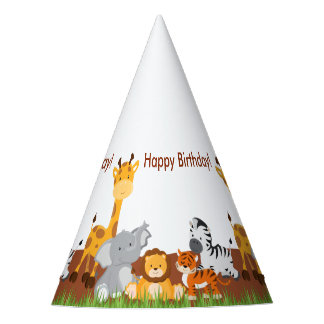 Cute Jungle Animals Birthday Party Hat
