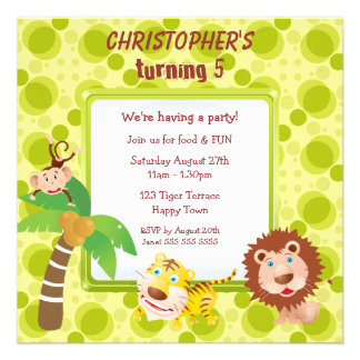 Cute Jungle Animals Birthday Party Personalized Announcement