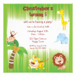 Cute Jungle Animals Birthday Party Personalised Announcement