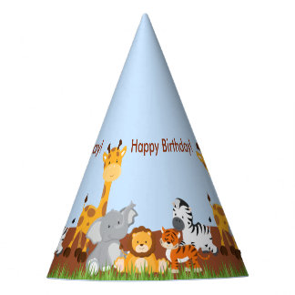 Cute Jungle Animals Boy Birthday Party Hat