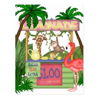 Cute Jungle Animals Lemonade Stand Postcard
